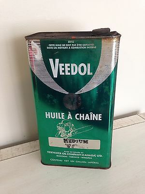 Vintage Veedol Chainsaw Motor Oil Tin Can Canada Imperial Gallon Gas Pump Sign