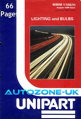UNIPART LIGHTING & BULBS CATALOGUE 1996 66 PAGES ILLUSTRATIONS. NO X/Reference