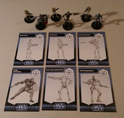 Star Wars Miniatures 2008 Clone Wars SEPARATISTS FIGURES with Cards Set of 6