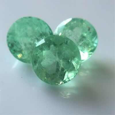 "Three Native Cut Round Natural ""Colombian Type"" Emeralds 7.12ct RRV $4095"