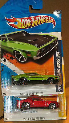 Lot Of 2  Hot Wheels Ford  Mustang,  70 Shelby Gt500, 71 Boss 351  Mint
