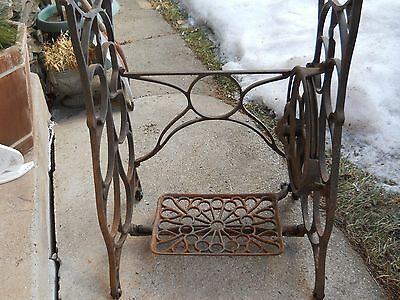Antique Cast Iron Treadle Sewing Machine Base Stand Industrial Steampunk Vintage