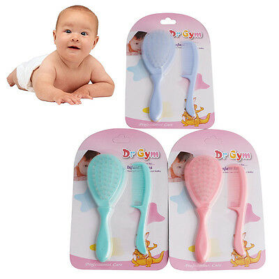 2Pcs Safety Soft Baby Hair Brush Infant Comb Grooming Shower Design Pack Kit New