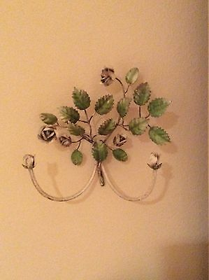 Rare Vtg Shabby Italian Chic Painted Tole Floral Rose Green White Wall Hanging