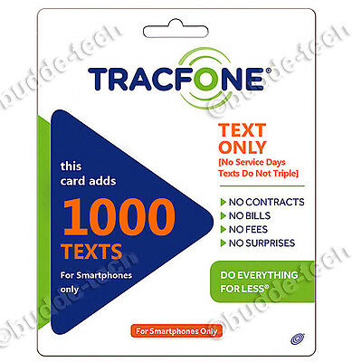 Tracfone 1000 Texts only / text messages / Smartphone PIN Number Top-Up Refill