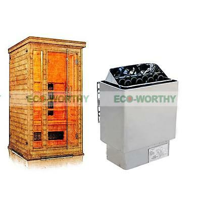 6KW Auto 110V & 220V/380V Sauna Stove Electric Heater + Outer Controller for Spa