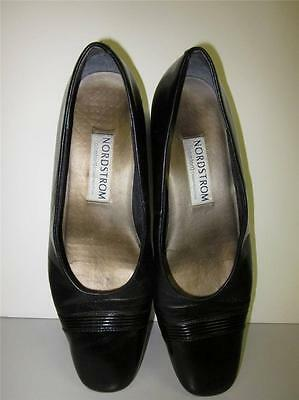 """Nordstrom Comfort Shoes Sz 10 M Black Leather with Patent Toe GUC 1.25"""" Heel"""