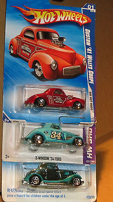 Lot Of 3 Hot Wheels Ford 34 Ford, 34 3Window, 41 Willys Coupe     Mint