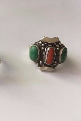 Sterling Silver Vintage Ring Turquoise & Red Coral Tibetan 925 Boho Tibet