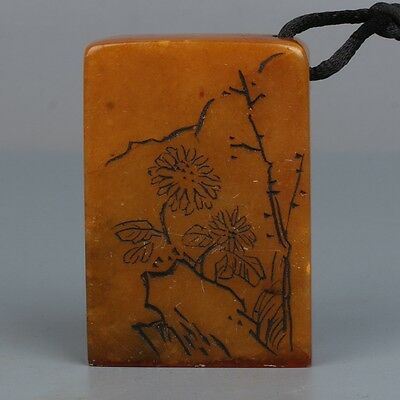 China Exquisite hand-carved Flowers and text carving Natural Shoushan Stone seal