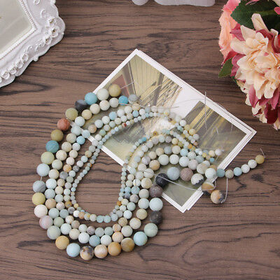 Natural Amazonite Stone Round Loose Beads Jewelry Making 4mm 6mm 8mm 10mm 12mm
