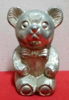 Nice Vintage Metal Teddy Bear Coin Bank Excellent Condition Made In Hong Kong