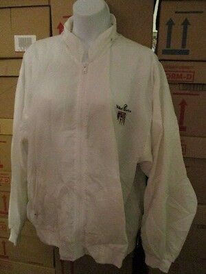 HOLLAND AMERICA White Nylon Zip Up Cruise Line Jacket with Zip in Hoddie Size S