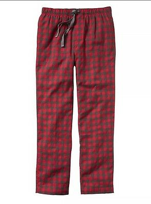 New Gap Body Men's Size 2XL Flannel Pajama Sleep Pants Cotton Grey Red Plaid