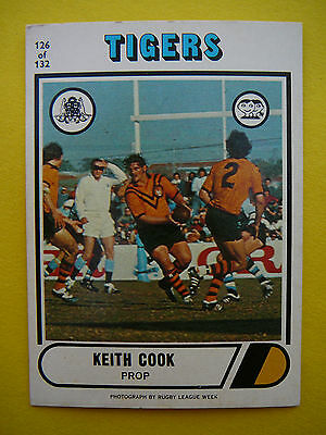 1976 Scanlens Balmain Tigers Keith Cook Rugby League Card