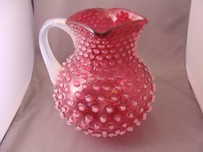 Large HOBBS BROCKUNIER CRANBERRY OPALESCENT HOBNAIL PITCHER
