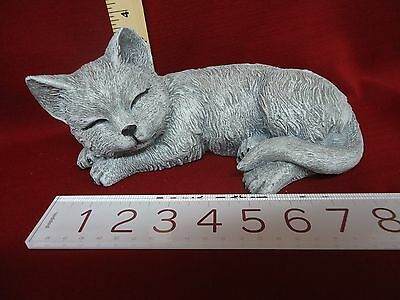 Concrete Stone Cat Kitten Garden Statue Figurine Hand Poured Made Hand Painted