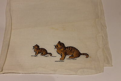 Vintage white hankie with mother and baby brown/tan cat