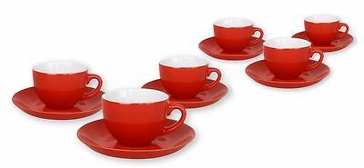 Set of 6 Coffee Espresso Porcelain Cups With Saucers 6.5 Dia x 5 cm Depth  RED