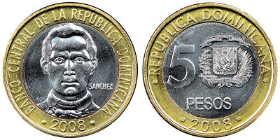 Dominican Republic 5 Pesos, 6g Stainless Steel/Brass Coin, 2008, KM#89, Mint