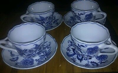 Blue and White Blue Danube Coffee Cup and Saucer set of 4