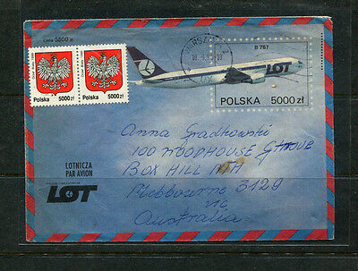 Poland 1990 Ppe Airmail Stamp Cover Illustrated Lot Airlines B767 Upgraded