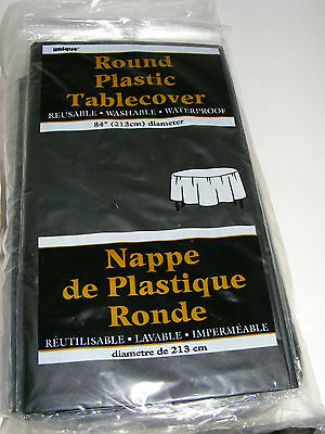 """12 Round Plastic Tablescovers 84"""" Reusable Washable Waterproof"""