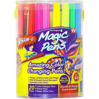 2 X Magic Pens Color Changing Markers Wham o Washable Stencils 20 Pens TV