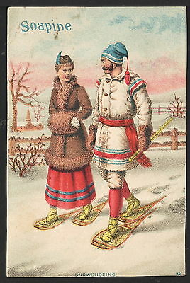 Vintage Victorian Trade Card Advertising Soapine, Man and Woman on Snowshoes