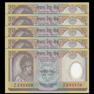 Lot 5 PCS, Nepal 10 Rupees, ND(2002), P-45, Polymer, UNC>COMM.