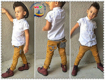 2PCS Baby Boys White tops + yellow pants kids Clothes Outfits Set