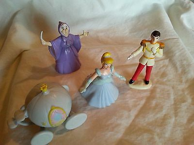 Lot of 4 Applause/Mattel DisneyCinderella Figs.,Carriage,Prince &Fairy Godmother