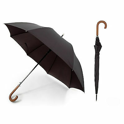 Unisex Plain Black Automatic Walking Umbrella With Wooden Handle