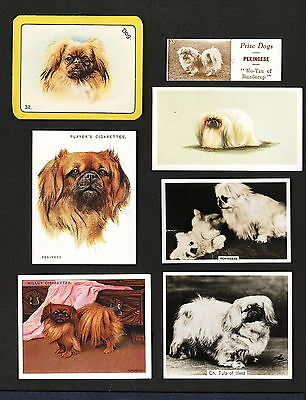 Pekingese Dogs on 7 Different Cigarette & Candy Cards 1915 to 1960