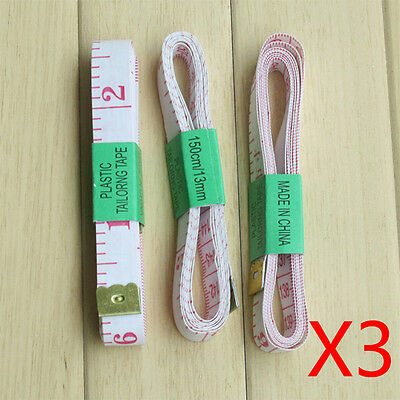 3pcs Portable Body Measuring Ruler Sewing Tailor Tape Measure Soft Flat 1.5m 60""