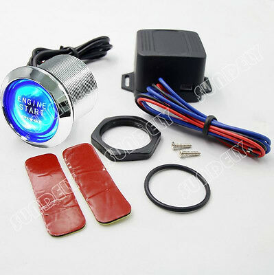 Hi-Q 12V Car Engine Blue Universal Start Push Button Switch Ignition Kit