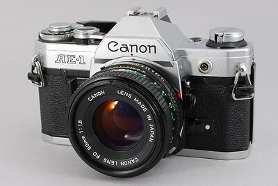 【NEAR MINT】 Canon AE-1 Silver Film Camera with NEW FD 50mm F1.8 from JAPAN #836
