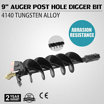 """9"""" Hex Auger Post Hole Digger Bit Manganese+Steel Two Blades Deepest Spin GOOD"""
