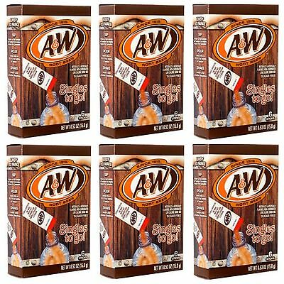 6 Boxes / 36 Packets A&W ROOT BEER Singles To Go Sugar Free Exp. FEB/2020