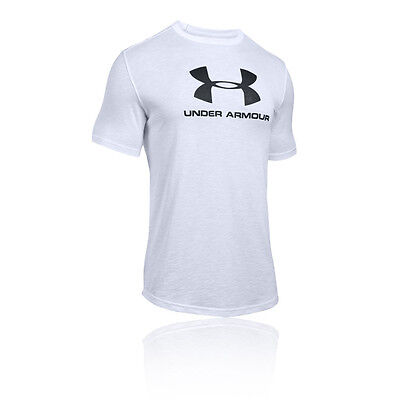 Under Armour Branded Hombre Blanco Manga Corta Cuello Redondo Entrenar Camiseta