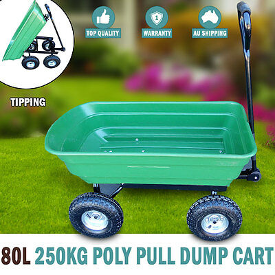 NEW 80L 250kg Poly Pull Dump Cart Hand Trailer Garden Lawn Wheelbarrow Tipping