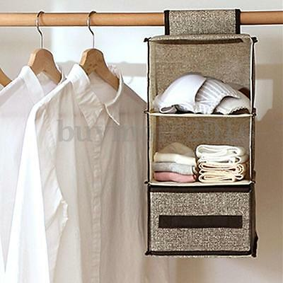 3 Tier Hanging Bag Clothes Garment Holder Rack Closet Organiser Storage Wardrobe