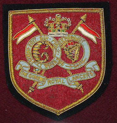 16th/5th Queens Royal Lancers Blazer badge in gold wire bullion