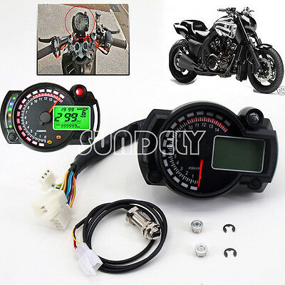 Motorcycle Universal LCD Digital Speedometer Tachometer Odometer Gauge UK Stock