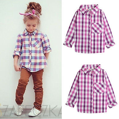Cotton Casual Baby Kids Girls Tops Long Sleeve Plaid Shirts T-shirt Blouse UK