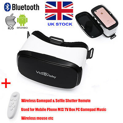 Universal 3D Virtual Reality VR Box Glasses Headset Helmet + Remote For Phone UK