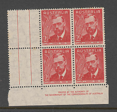 1946 21/2d Farrer Imprint Block of 4 MUH 1 Crease slight tone