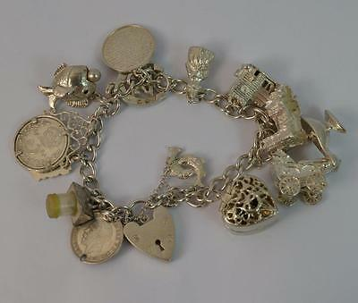Vintage Solid Silver Ladies Charm Bracelet with Some Rare Charms