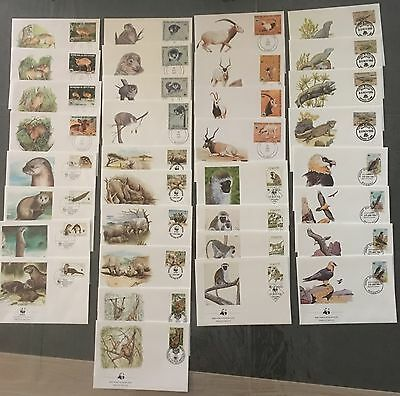 Lot Timbres Animaux WWF 34 FDC