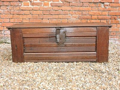 Mid 16th Century English Antique Oak Clamp Front Chest, Circa 1550 Coffer